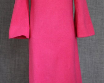 1970s style Bright Pink Bell Sleeve Dress