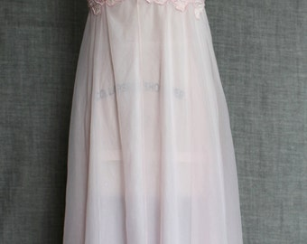 1960s Palest Pink Dreamy Sheer Nightdress