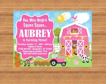 PRINTABLE Custom Invitation - Pink Farm / Barn Yard Birthday Invitation