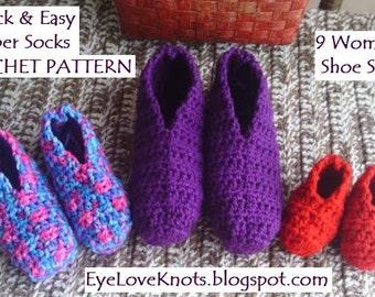 CROCHET PATTERN - Quick & Easy Slipper Socks in 9 Women's Sizes - US Women's Shoe Sizes - Women's Slippers Crochet Pattern