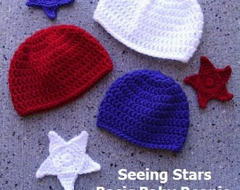 CROCHET PATTERN - Seeing Stars Basic Baby Beanie & Star Applique - Easy Crochet Patterns - Baby Hat Crochet Pattern in 3 Sizes