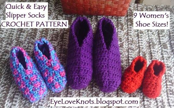 Crochet Pattern Quick Amp Easy Slipper Socks In 9 Women S