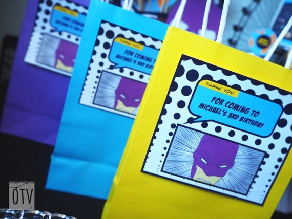 SUPERHERO Comic Book Personalised LOOTBAG Lables - PRINTABLE Digital File Pdf