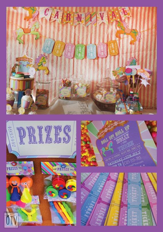 CARNIVAL- Fair Ground - Carousel - Circus - Personalised - Birthday - Shower -  Pastel - Full Pack - PRINTABLE Pdf - Digital Files