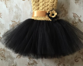 Black and gold flower girl tutu dress, birthday tutu dress, crochet tutu dress, corset tutu dress, baby tutu dress, toddler tutu dress