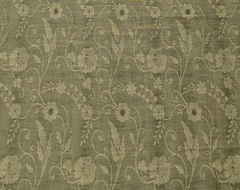 "Sage Green Silk & Linen Flax Jacquard Fabric Floral Design, 54"" Wide, By The Yard (JD-347B)"