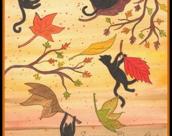 Happy First Day of Fall, Autumn leaves with cats, colorful silhouette card or print, Watercolor, Item #0404a