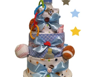 Sports Diaper Cake - Baby Shower Centerpiece and Gift - FREE SHIPPING!