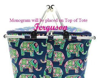 Monogrammed Market Bag  Insulated Picnic Tote  Monogrammed Insulated Market Tote