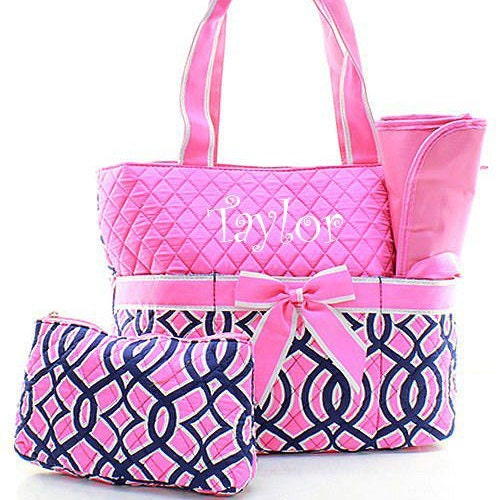 monogrammed pink and navy diaper bag personalized diaper bag. Black Bedroom Furniture Sets. Home Design Ideas