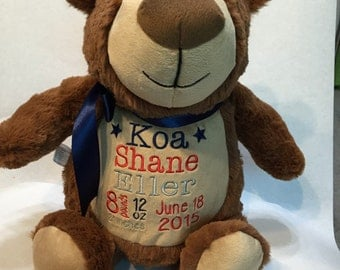 Personalized Stuffed Bear Cubby. Cubbyford Bear. Birth Announcement Stuffed Bear Cubbies. Stuffed Animal Toy with Name.