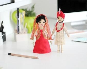 Ethnic Wedding Dolls, Customized 18cm Asian Indian Pakistani Sikh Hindu Muslim Bride and Groom cake toppers,