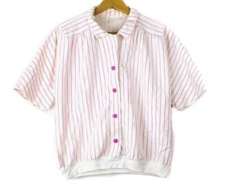 90's Pink Stripped Button Down Shirt