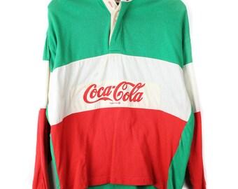 Vintage Coca Cola Hip Hop Polo Rugby Shirt