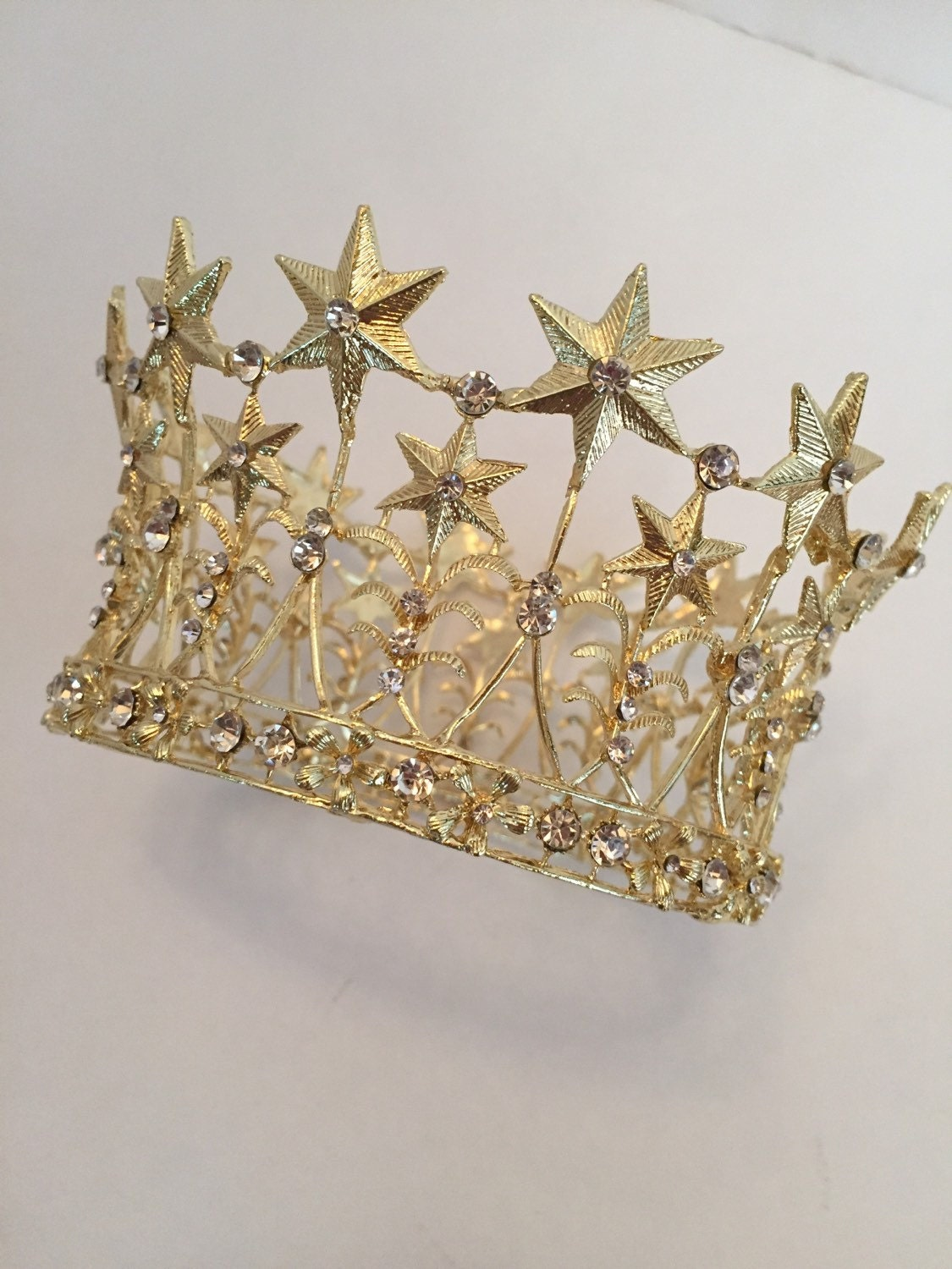 Metal Star Crown Ornate Gold Crown Cake Topper Wedding Cake