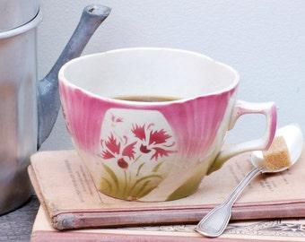 Tasse à café Digoin avec des oeillets roses et verts French vintage cafe au lait  bowl ,bol cafe au lait, shabby chic