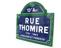 XL Original Enamel PARIS Street Sign. Loft. Industrial. Very Rare. Rue Thomire. Paris 13th district.