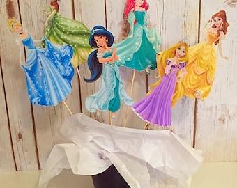6 Piece Disney Princess Centerpiece, Princess Birthday, Princess Party Decor, Princess Decorations, Topper, Centerpiece