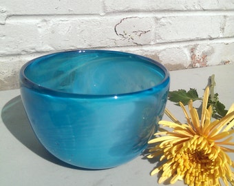 Clear Skies - Blue Blown Glass Bowl
