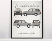 For Adventure. Range Rover Sport. Wall Art. Car Graphic. Digital Print. Typography A3 A2