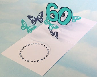 60th Birthday Card Butterfly Spiral Pop Up - Blue and Green Butterfly 3D Card – 60th Birthday Spiral Pop Up Card