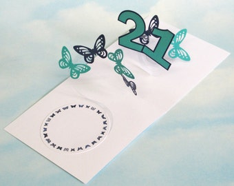 21st Birthday Card Butterfly Spiral Pop Up - Blue and Green Butterfly 3D Card – 21st Birthday Spiral Pop Up Card