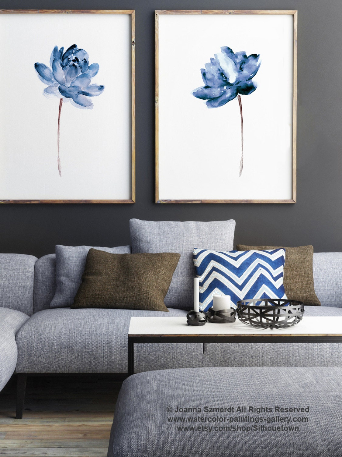 Lotus set of 2 watercolor painting blue water flowers art for Blue wall art for living room