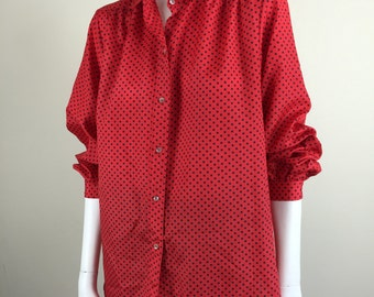 red & black polka dot blouse 70s