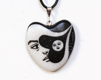Moon and sun heart necklace: original design and painting hand painted on a heart shaped stone. Unique art pendant, romantic gift for her!