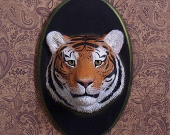 OOAK (one of a kind) Tiger portrait wall art sculpture