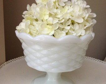 Vintage Milk Glass Pedestal Planter or Fruit Bowl