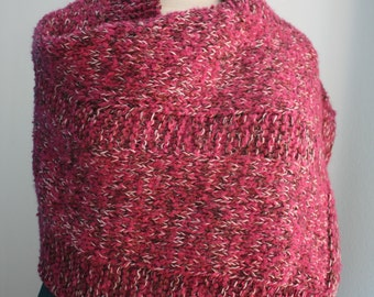 Old pink shawl knitted by hand