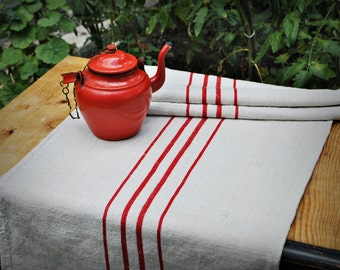 Vintage grain sack table runner - Red stripes - European hemp handwoven fabric