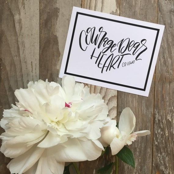 Courage dear heart, set of encouraging postcards, C S Lewis quote, hand lettered design, Christian cards, scripture cards