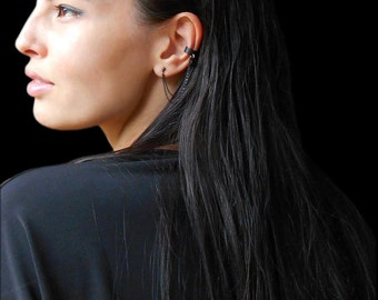 Black ear cuff with black crystal, Black Cuff earring