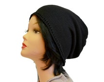 Black slouchy beanie, summer hat, Cotton beanie, crochet knit beanie, mens hat, gift for him, womens beanie, gift for her