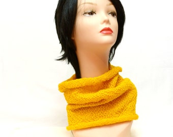 knit Chunky Cowl Scarf Neck Warmer yellow infinity circle Accessory