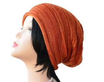 knit Slouchy Beanie slouchy hat knitted hat woman hat slouchy hat men teen rust orange brown knitting accessories beanie hat