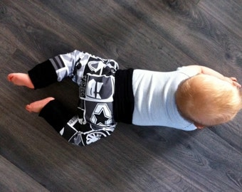 Grow with me pants, harem pants, baggy, sizes 0-6Y, hipster, style, comfortable, for babies, toddlers, kids, made of jersey knit