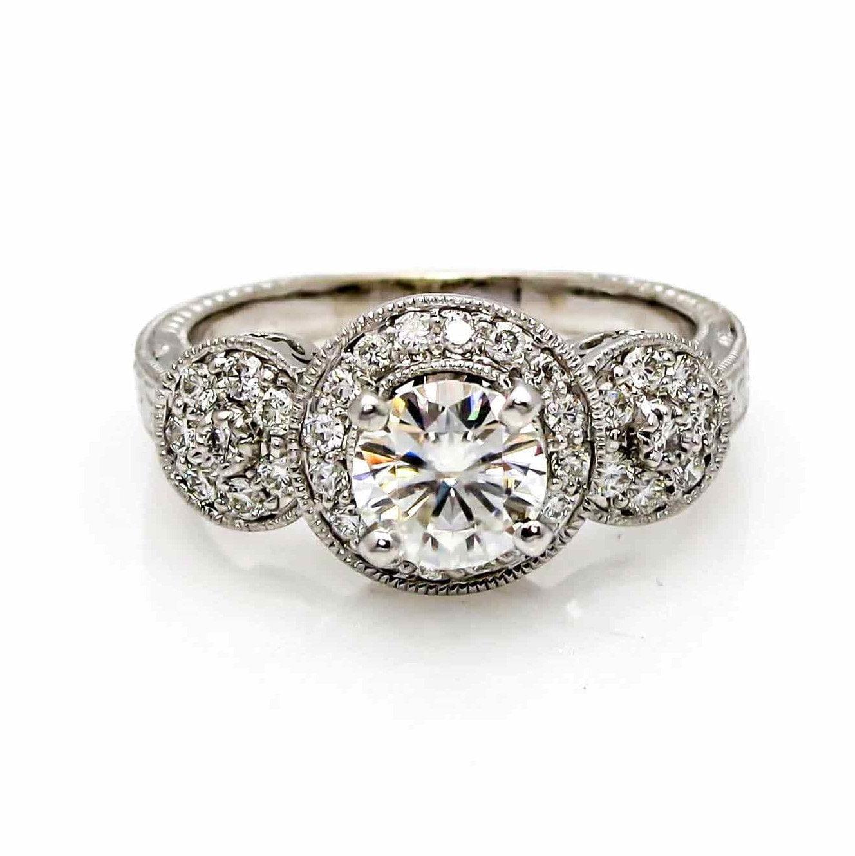 halo moissanite diamonds unique engagement ring 1