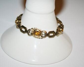 7 in Vintage Gold Toned Bracelet with citrine stones    Elegant  