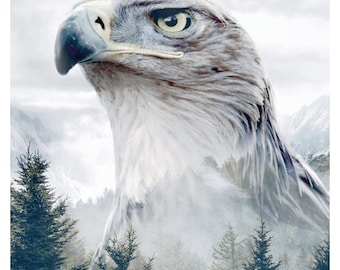 Caucasian Eagle Portrait Animal Double Exposure - Faunascapes Art Print by WhatWeDo