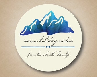 Watercolor Christmas Gift Label Mountain Range Holiday Sticker Blue Winter Theme Water Color Holiday Label Christmas Stickers Christmas Tags