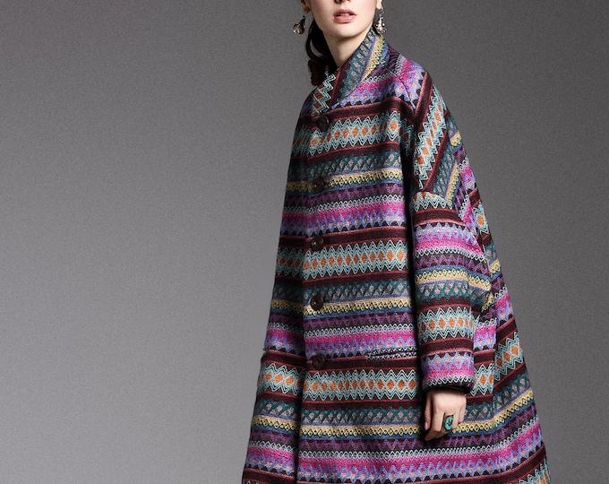 Wool Coat - Semi-long coat autumn / winter - Bat sleeves - Loose fit - High collar - Made to order