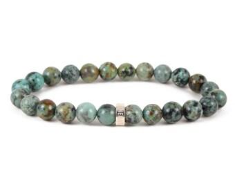 African Turquoise Bracelet - Jasper Bracelet, Semi-Precious Gemstone Bracelet, Stone Bracelet, Elastic Beaded Bracelet