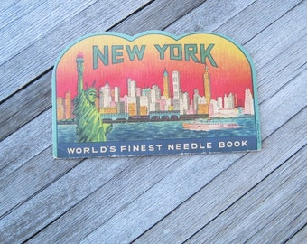 Antique New York Needle Book; 1930s Manhattan Skyline; 'World's Finest Sewing Needles;' Made in Japan; U.S. Shipping Included