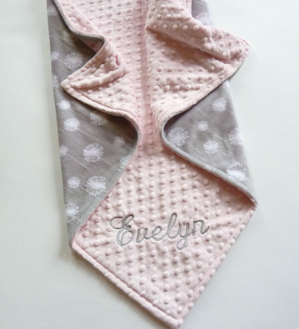 Personalized Minky Baby Blanket Or Lovey Premier Dandelion