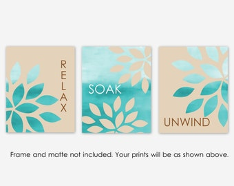 Bathroom Wall Art Relax Soak Unwind Abstract Prints Set of 3 prints Home Decor Sand Turquoise Contemporary Wall Hanging  UNFRAMED