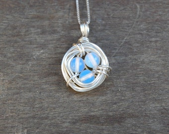 Moonstone Bird's Nest Wire Wrapped Pendant (Free shipping in Canada!)