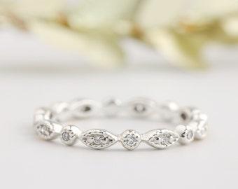 Platinum wedding ring, art deco wedding band, diamond eternity ring, conflict free diamond, full eternity, diamond stack rings, bri-ado-w102